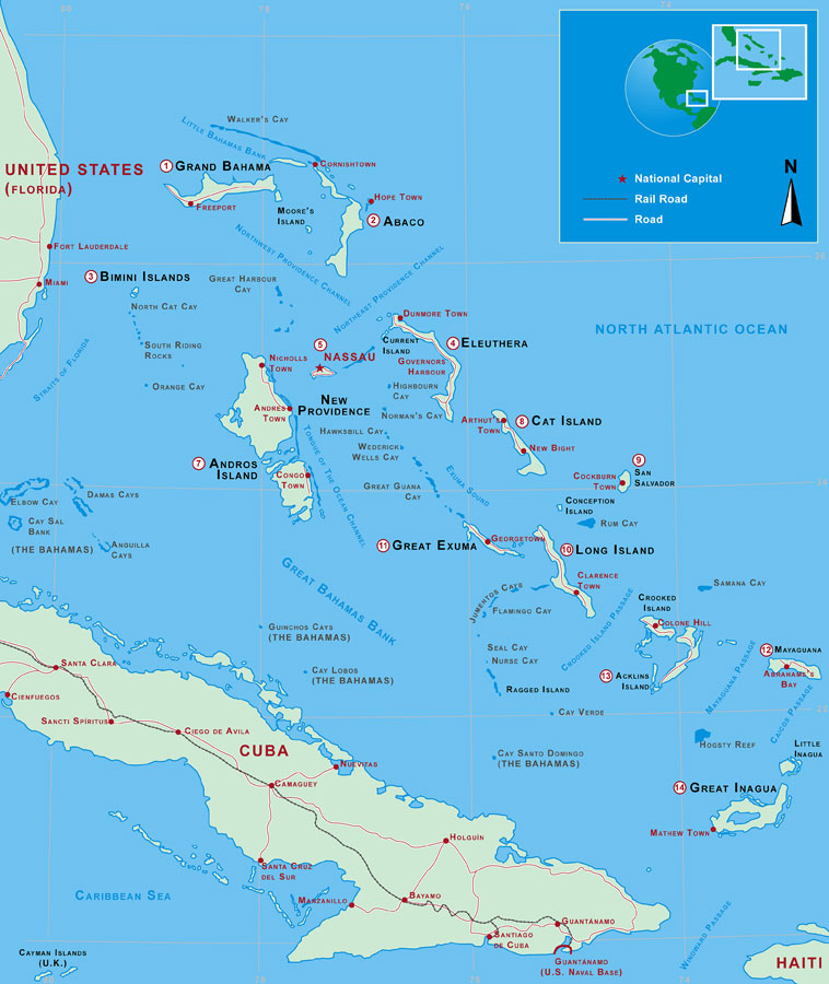 See Eleuthera there towards the east?  We were coming from the tiny islands of the Exumas, which you can barely see on this map, halfway between New Providence and Eleuthera.  Maybe there will be a grocery store!!!!