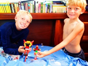 The boys playing Legos together