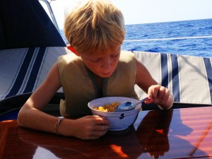 Porter remains unconcerned about the serious navigational situation.  Cereal trumps all when you are 6.